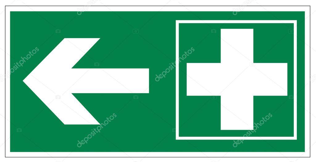 Erste hilfe symbol  Zeichen Symbol Ausfahrt Notfall ErsteHilfe kit Kreuz Pfeil ...