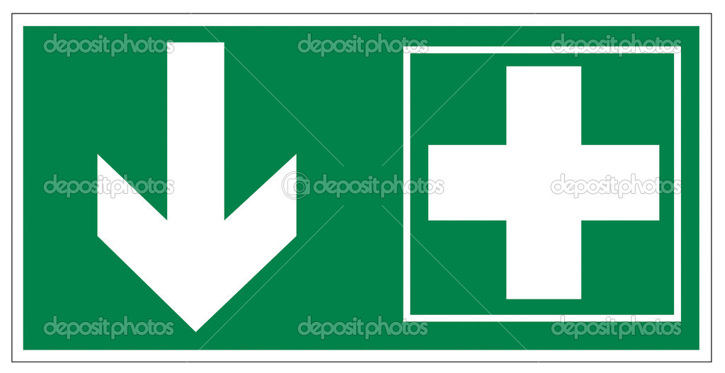 Rescue signs icon exit emergency first aid kit cross arrow