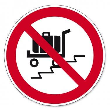 Prohibition signs BGV icon pictogram Use the escalator with suitcase load cars banned
