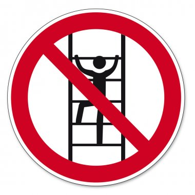 Prohibition signs BGV icon pictogram Climb for unauthorized