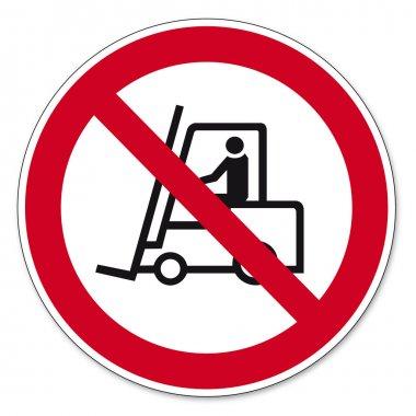Prohibition signs BGV icon pictogram Prohibited for trucks