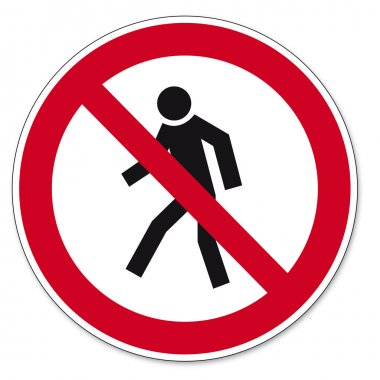Prohibition signs BGV icon pictogram Prohibited for pedestrians