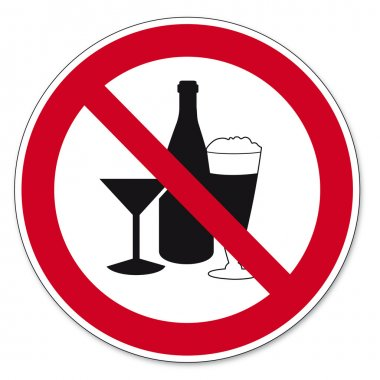 Prohibition signs BGV icon pictogram Consumption of alcohol prohibited