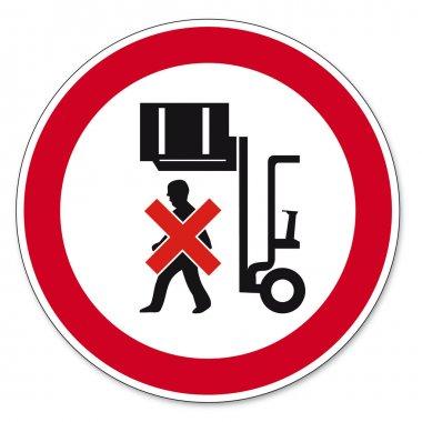 Prohibition signs BGV icon pictogram Do not walk under raised load
