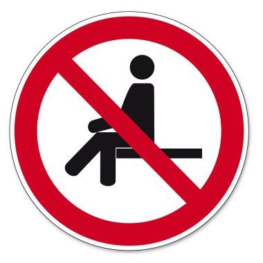 Prohibition signs BGV icon pictogram forbidden to sit