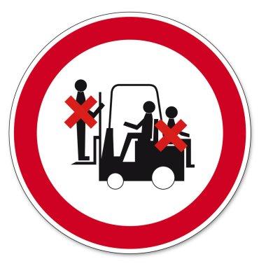Prohibition signs BGV icon pictogram Prohibited to ride truck