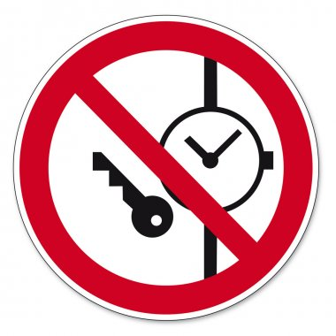 Prohibition signs BGV icon pictogram Carrying metal parts of clocks or prohibited
