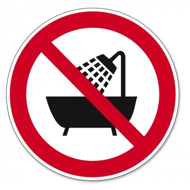 Prohibition signs BGV icon pictogram Device use in the bathtub