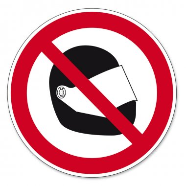 Prohibition signs BGV icon pictogram Motorcycle helmet banned