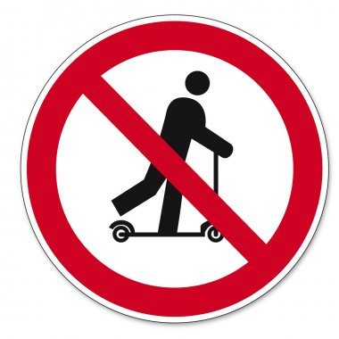 Prohibition signs BGV icon pictogram Scootering prohibited