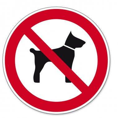 Prohibition signs BGV icon pictogram Carrying animals dog cat