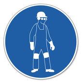 přikázal znamení bezpečnostní značka piktogram bezpečnosti práce znamení osobní ochranné prostředky použití