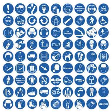 Commanded sign safety sign pictogram occupational safety sign General mandatory sign set collection
