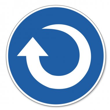 Commanded sign safety sign pictogram occupational safety sign Clockwise rotation arrow