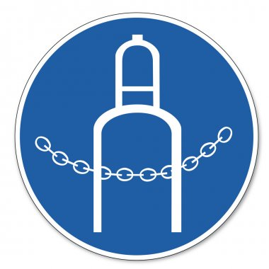Commanded sign safety sign pictogram occupational safety sign Pressure bottle secured by chain