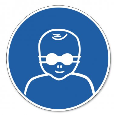 Commanded sign safety sign pictogram occupational safety sign Eye shielding for patients carrying