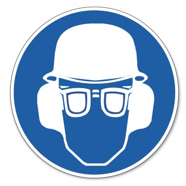 Commanded sign safety sign pictogram occupational safety sign Ear, eye and head protection must be worn