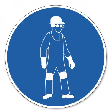 Personal protective equipment use sign created on White Background in Adobe Illustrator. stock vector