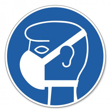 Commanded sign safety sign pictogram occupational safety sign Mild respiratory protection