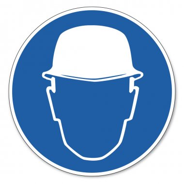 Helmet use commanded sign created on White Background in Adobe Illustrator. stock vector
