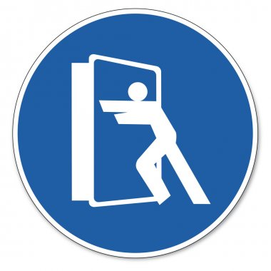 Commanded sign safety sign pictogram occupational safety sign Always close doors
