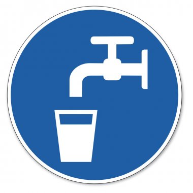 Commanded sign safety sign pictogram occupational safety sign drinking water glas