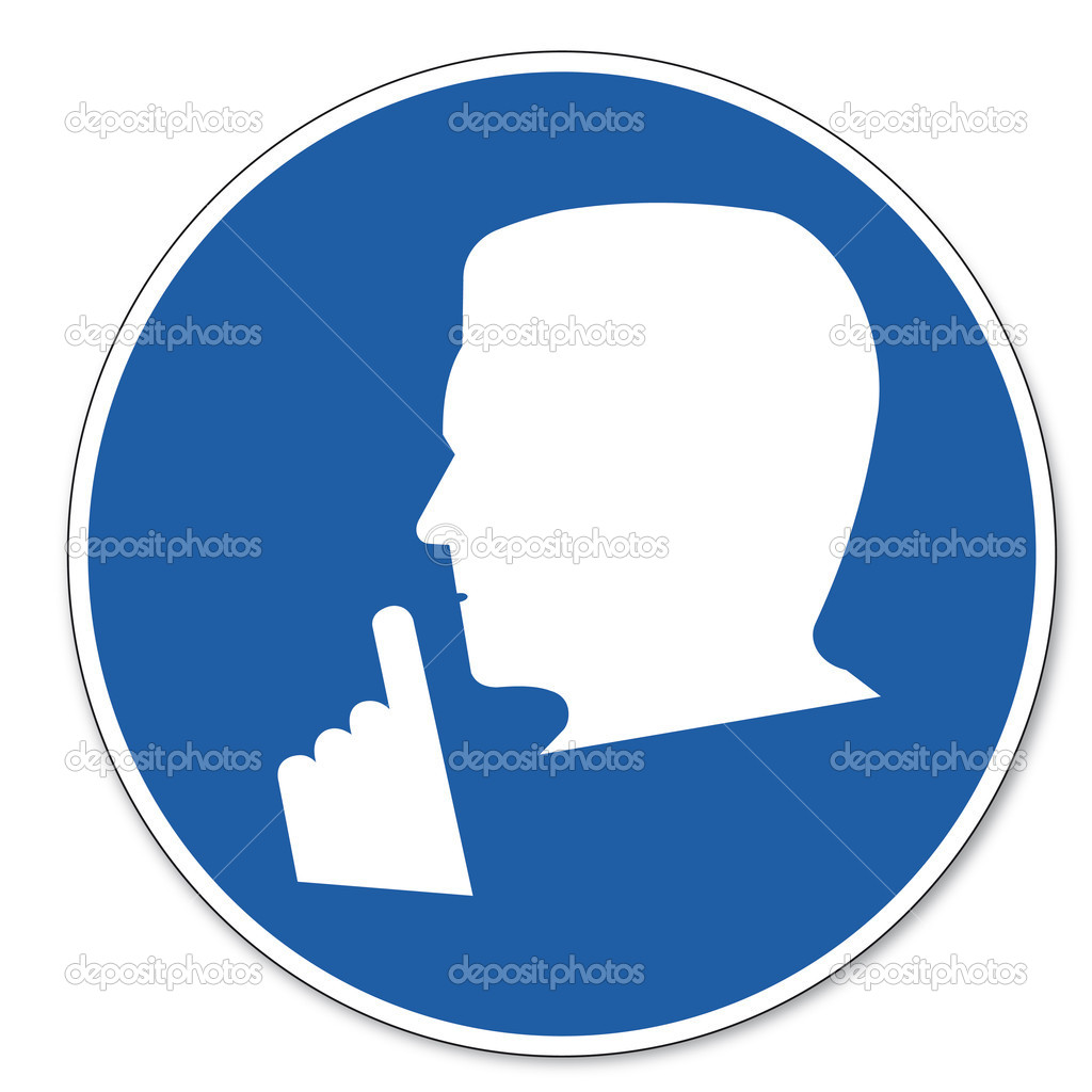 Commanded sign safety sign pictogram occupational safety sign Quiet Please!