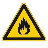 Fotografia segnaletica di sicurezza AVVERTENZA bgv a8 segno di triangolo vettoriale infiammabile di pittogramma icona fiamma fuoco