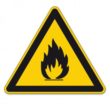 Safety signs warning BGV A8 triangle sign vector pictogram icon flame fire flammable