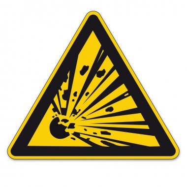Safety sign triangle warning triangle sign vector pictogram BGV A8 Icon potentially explosive