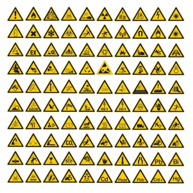 Warning Signs set on White background created in Adobe Illustrator. stock vector