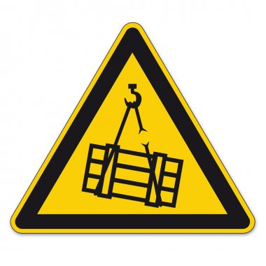 Safety signs warning triangle sign BGV A8 vector pictogram icon floating crane load