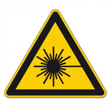 Safety signs warning triangle sign vector pictogram BGV A8 Icon laser beam laser weapon
