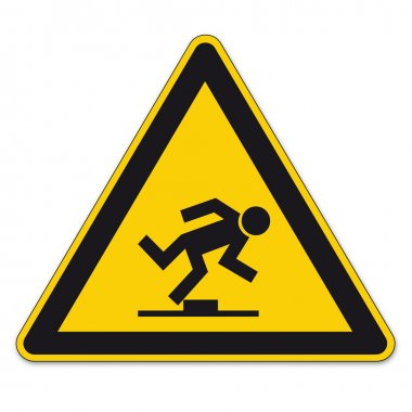 Safety signs warning triangle sign vector pictogram BGV A8 Icon tripping hazard level
