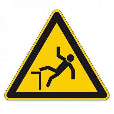 Safety signs warning triangle sign vector pictogram BGV A8 Icon cliff fall hazard