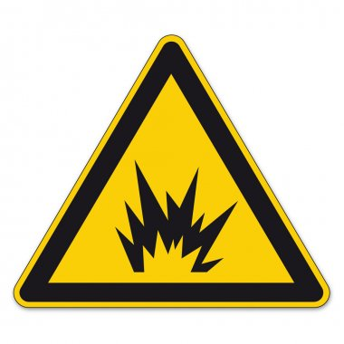 Safety signs warning triangle sign vector pictogram BGV A8 Icon bomb explosion tnt