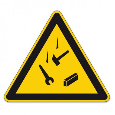 Safety signs warning triangle sign vector pictogram icon BGV falling down against admissions