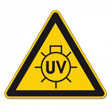 Safety signs warning triangle sign BGV vector pictogram icon UV sun lamp
