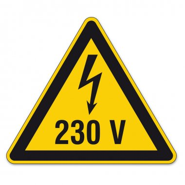 Safety signs warning triangle sign vector pictogram BGV A8 Icon arrow lightning electricity