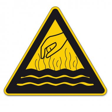 Safety signs warning triangle sign BGV vktor pictogram icon steaming hot liquid hand