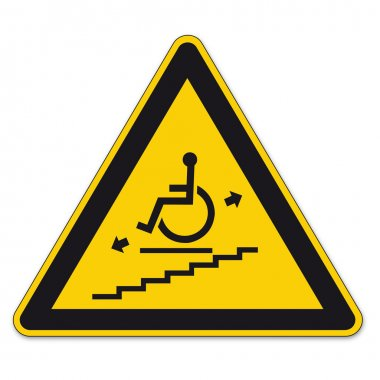 Safety signs warning triangle sign BGV vector pictogram icon stairlift disabled
