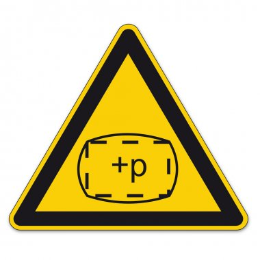 Safety signs warning triangle sign BGV A8 vector pictogram icon space zone pressure