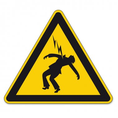Safety signs warning triangle sign vector pictogram icon Danger high voltage lightning