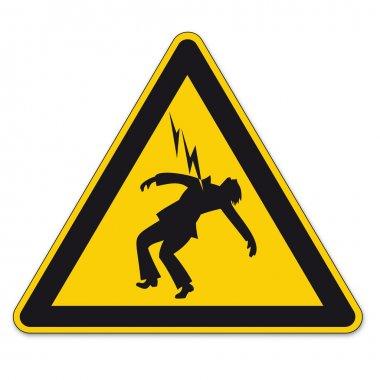 """Картина, постер, плакат, фотообои """"знаки безопасности знак треугольника знак вектора пиктограммы значок опасность высокого напряжения молнии """", артикул 11976824"""