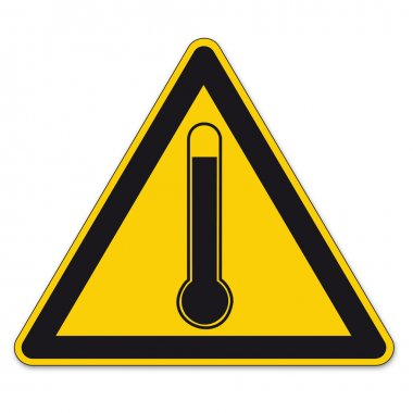 Safety signs warning triangle sign BGV high temperature thermometer vector pictogram icon