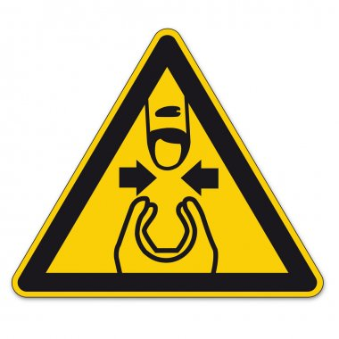 Safety signs warning triangle hand sign BGV A8 vector pictogram icon finger pinch