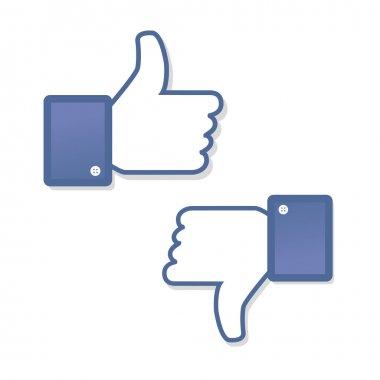 Face symbol hand i like fan fanpage social voting dislike set network book icon community