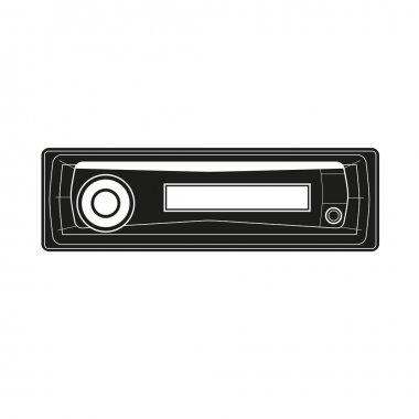 Auto ride car stereo ca dvd kasette icon mp3 musik radio vector pictogram carradio sign symbol