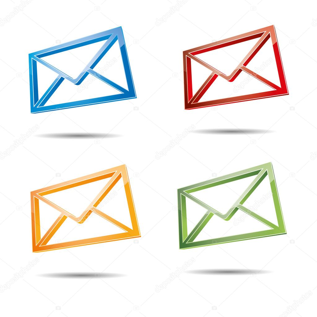 3d email e-mail senden post at mailbox support contact pictogram ...