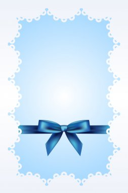 Blue background with lace and ribbon